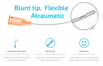 *** NEW *** 30G 30mm Micro Cannula Blunt tip for Atraumatic Filler Injections, Flexible, cannulas for deep injections, Painless, Virtually no bruising (Better than Sharp Needle Juvederm, Restylane, Perlane, Sculptra, Radiesse, Belotero)